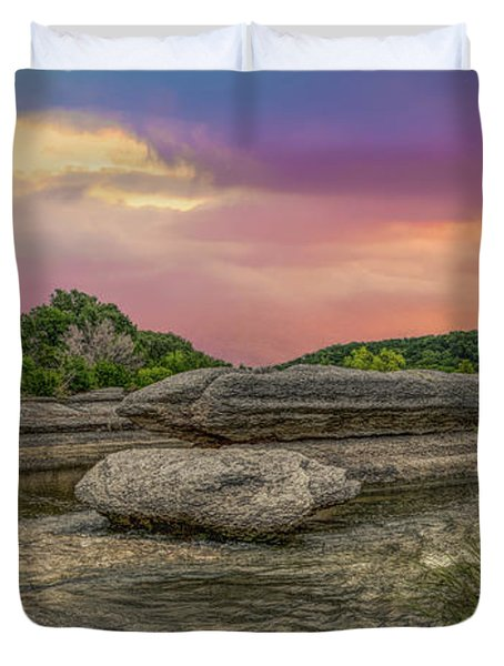 River Erosion At Sunset Duvet Cover