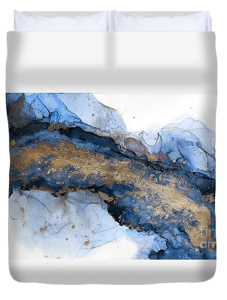 River Of Blue And Gold Abstract Painting Duvet Cover