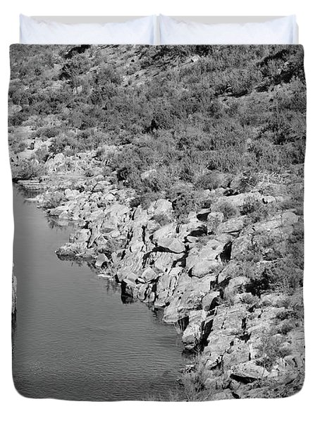 River On The Rocks. Bw Version Duvet Cover