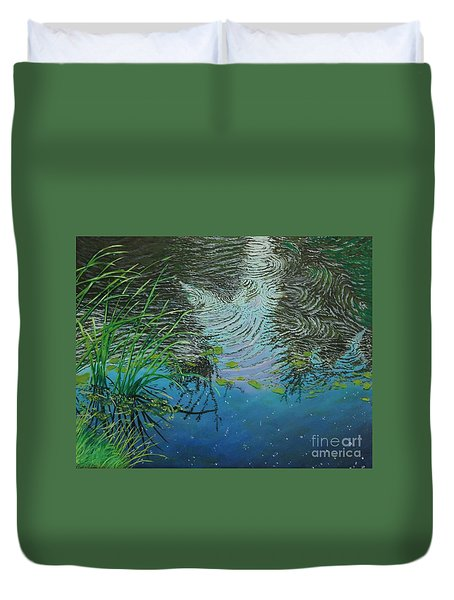 River ...ripples And Reeds Duvet Cover