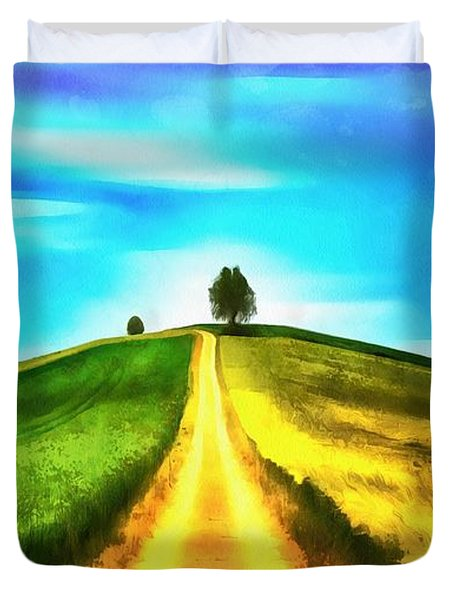 Duvet Cover featuring the painting Road Of Life by Harry Warrick