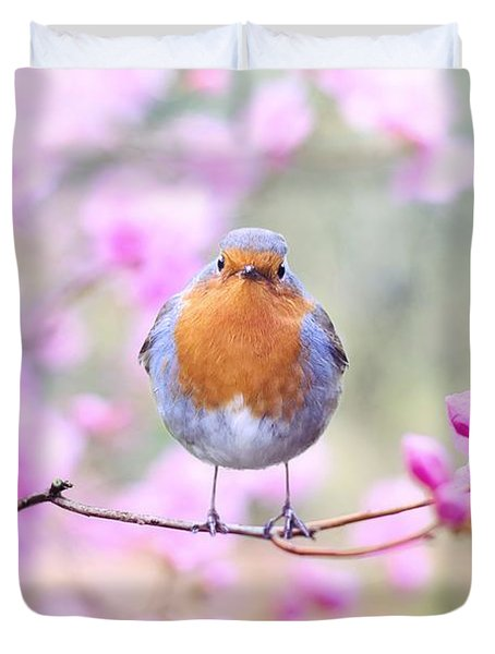 Robin On Pink Flowers Duvet Cover