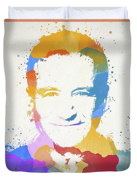Robin Williams Paint Splatter Duvet Cover