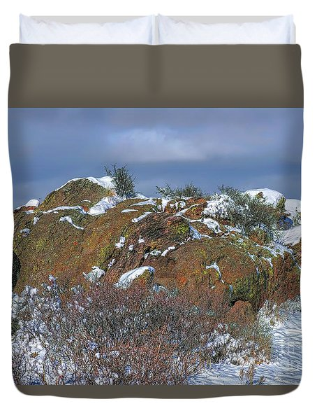 Duvet Cover featuring the photograph Rock Snow Sky by Jon Burch Photography