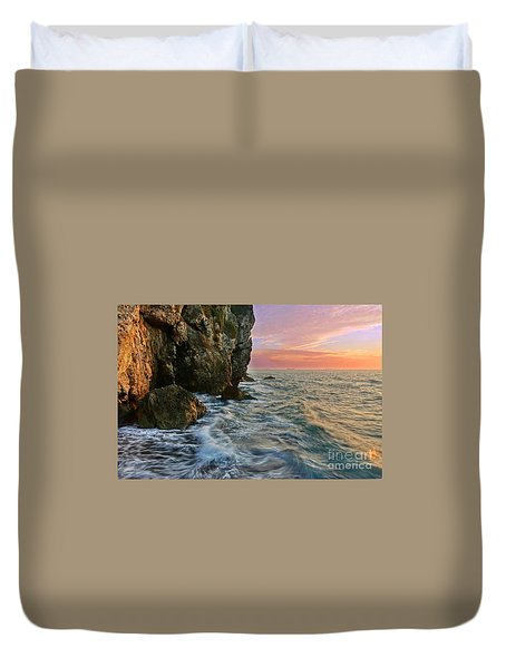 Rocky Cliffs And Waves During Sunset Duvet Cover