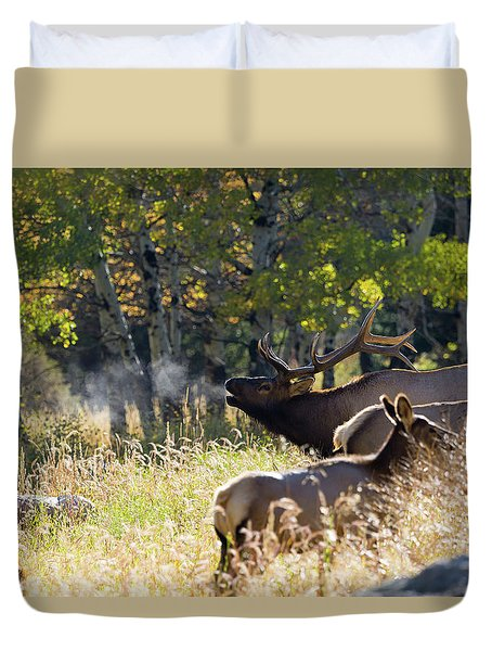 Duvet Cover featuring the photograph Rocky Mountain Bull Elk Bugeling by Nathan Bush