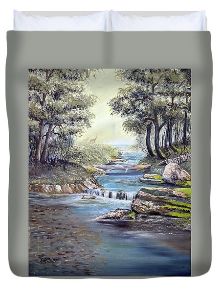 Duvet Cover featuring the painting Rocky Stream by Deleas Kilgore