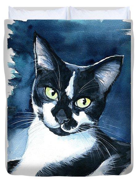 Rollie Tuxedo Cat Painting Duvet Cover