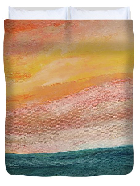 Duvet Cover featuring the painting Rolling Ocean by Valerie Anne Kelly
