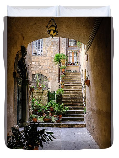 Duvet Cover featuring the photograph The Cobblestone Streets Of Sorrento Italy by Robert Bellomy