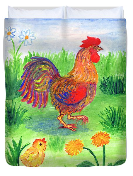 Rooster And Little Chicken Duvet Cover