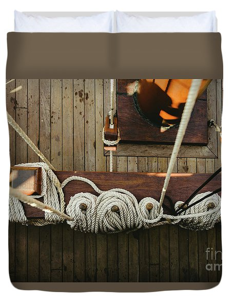 Ropes To Hold The Sails Of An Old Sailboat Rolled. Duvet Cover