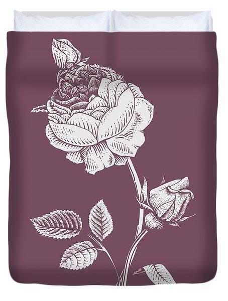 Rose Purple Flower Duvet Cover