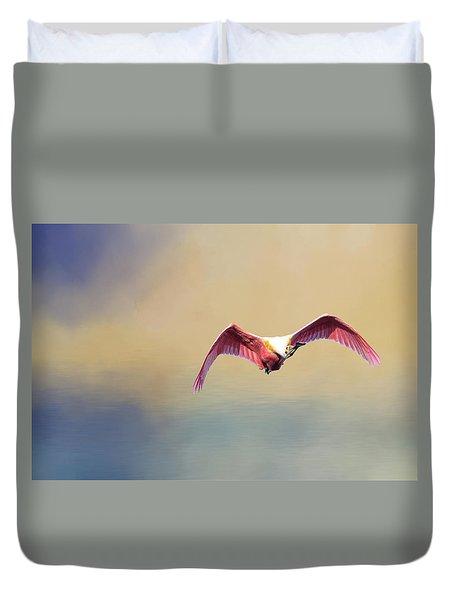 Roseate Spoonbill At Sunrise Duvet Cover