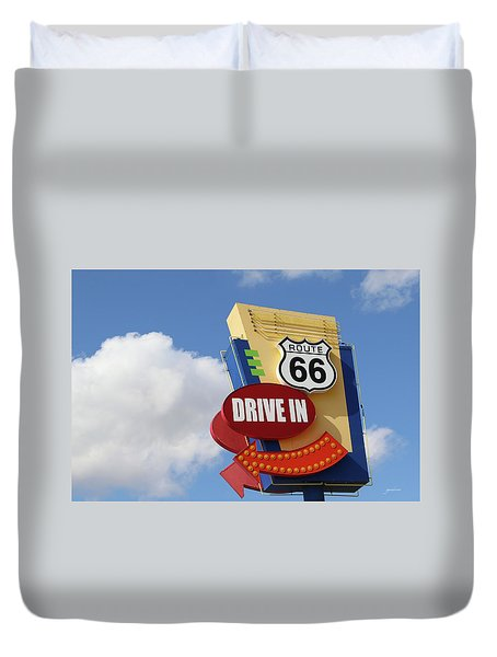 Route 66 Drive-in Sign Duvet Cover