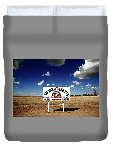 Route 66 - Midpoint Sign 2010 Bw Duvet Cover