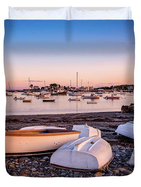 Rowboats At Rye Harbor, Sunset Duvet Cover