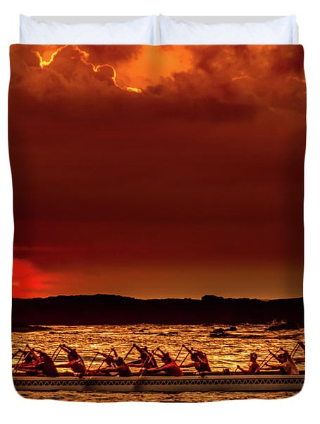 Rowing In The Sunset Duvet Cover