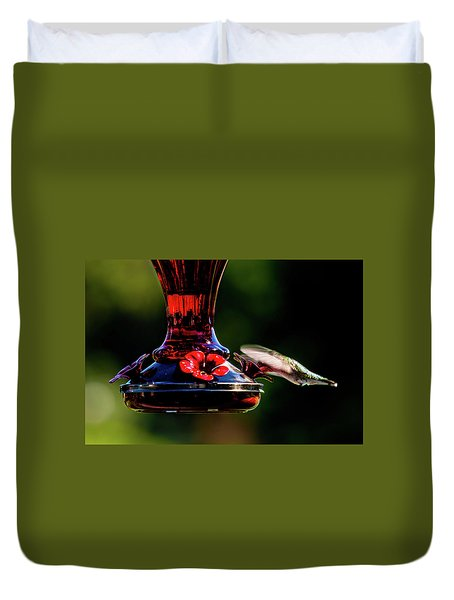 Duvet Cover featuring the photograph Ruby Throated Beak Deep by Onyonet  Photo Studios
