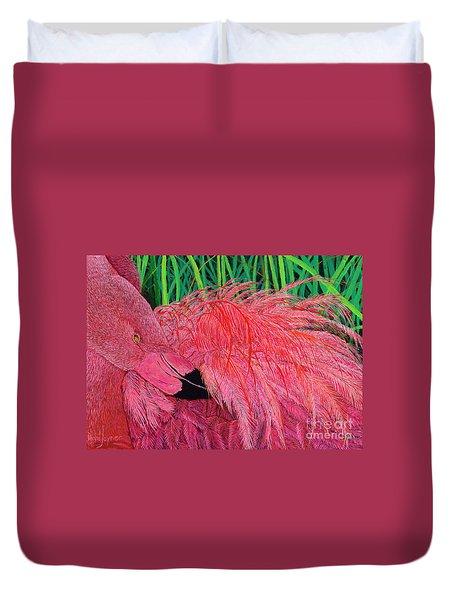 Ruffled Flamingo Duvet Cover
