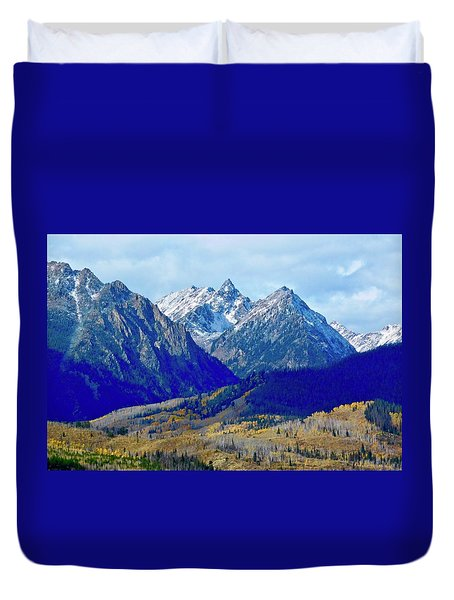 Duvet Cover featuring the photograph Rugged Peaks by Dan Miller