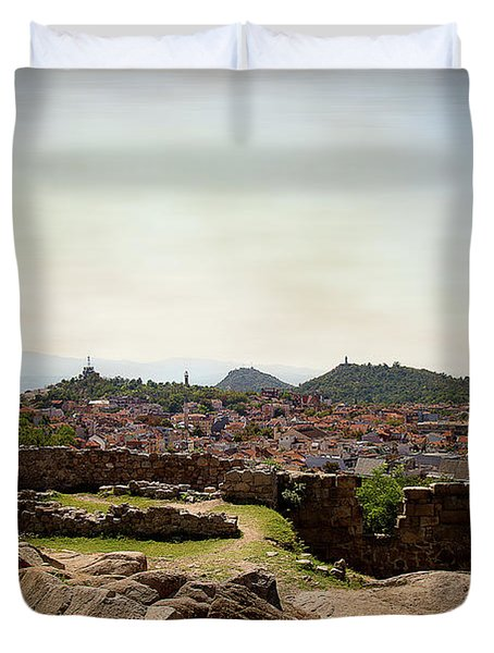 Duvet Cover featuring the photograph Ruins On The Top Of The Hill by Milena Ilieva