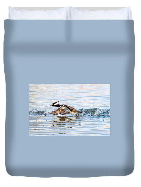 Running Take Off -- Hooded Merganser Duvet Cover