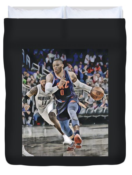 Russell Westbrook Oklahoma City Thunder Abstract Art 1 Duvet Cover