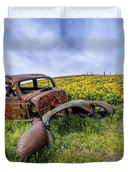 Rusted Relic In Balsamroot Duvet Cover