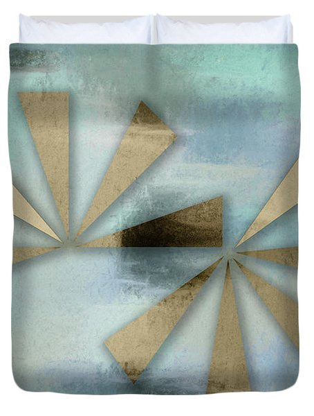 Rusted Triangles On Blue Grey Backdrop Duvet Cover