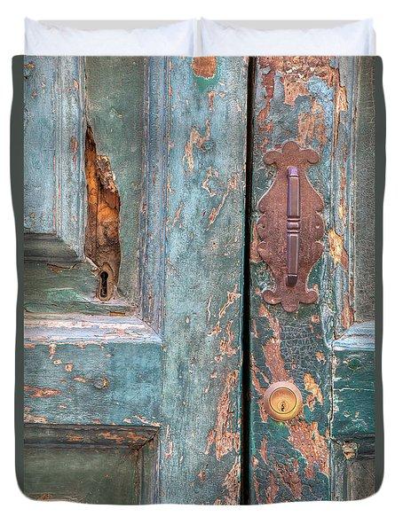 Rustic Green Door Of Cortona Duvet Cover