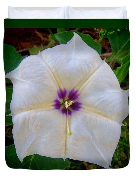 Duvet Cover featuring the photograph Sacred Datura - Full Bloom by Judy Kennedy