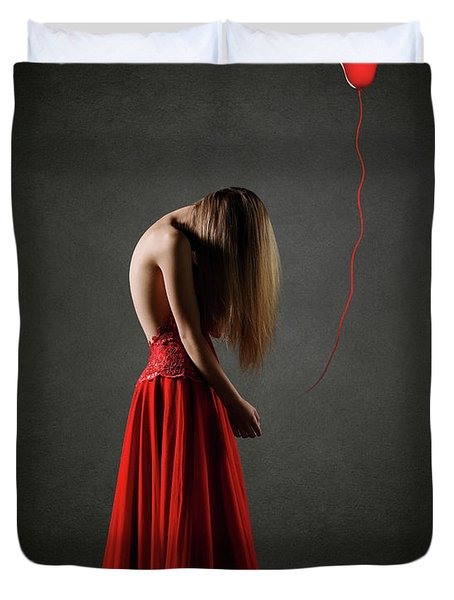 Sad Woman In Red Duvet Cover