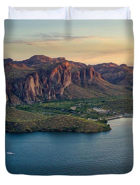 Saguaro Lake Mountain Sunset Duvet Cover