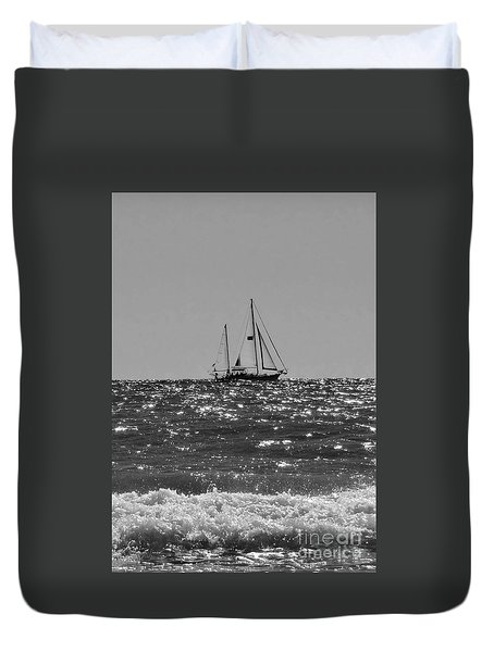 Sailboat In Black And White Duvet Cover