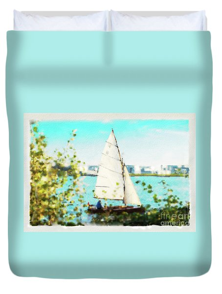 Sailboat On The River Watercolor Duvet Cover