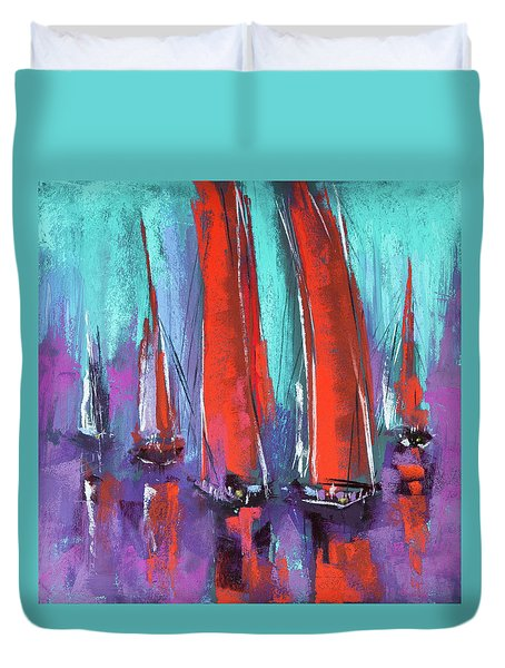 Duvet Cover featuring the pastel Sailing by David Patterson