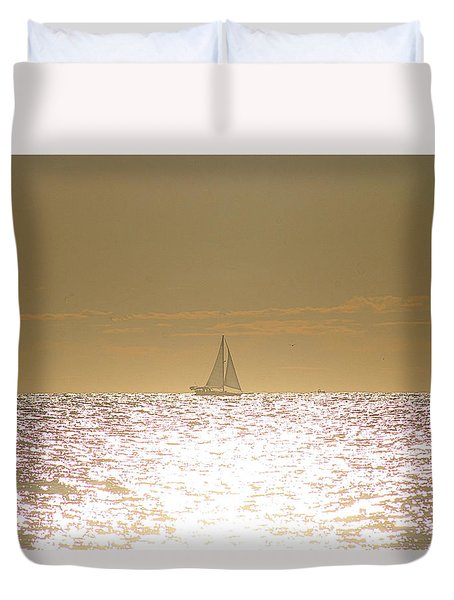 Duvet Cover featuring the photograph Sailing On Sunshine by Robert Banach