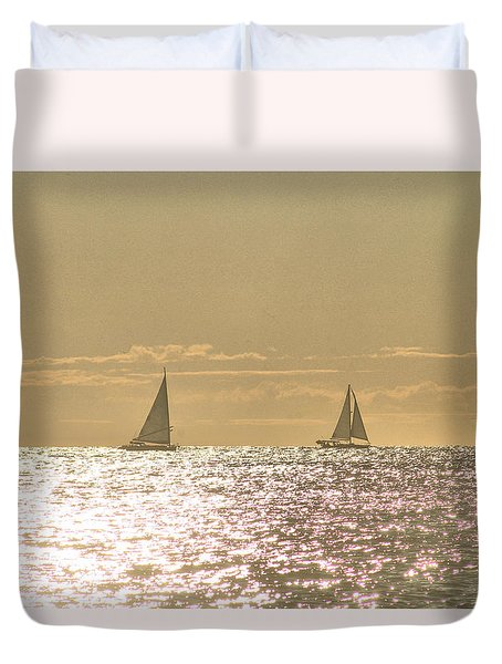 Duvet Cover featuring the photograph Sailing On The Horizon by Robert Banach