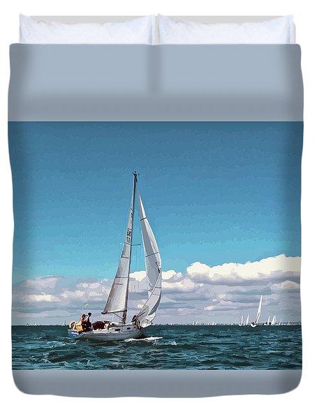 Sailing Regatta On A Brisk Summer's Day Duvet Cover