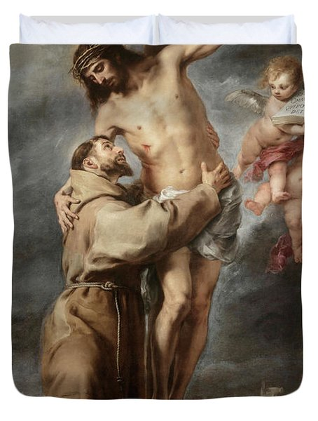Saint Francis Embracing Christ, 1669 Duvet Cover
