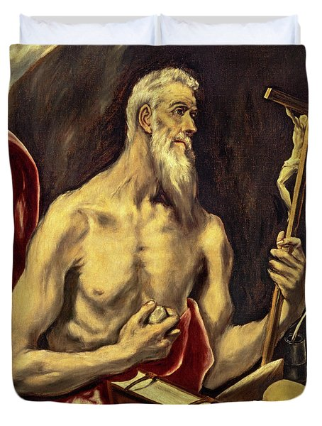 Saint Jerome In Penitence Duvet Cover