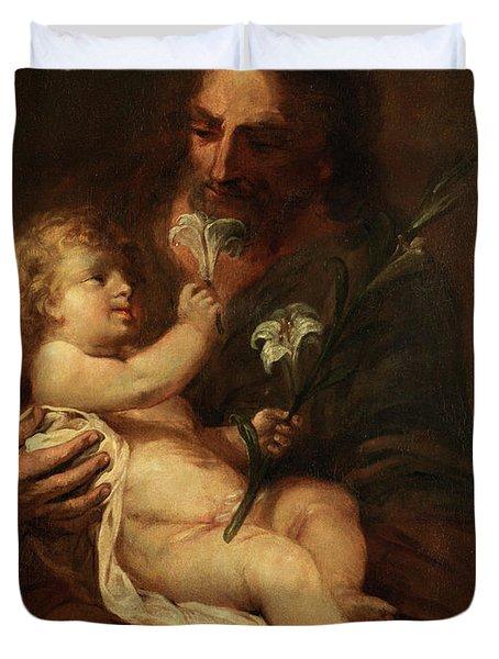 Saint Joseph With The Infant Saviour Duvet Cover