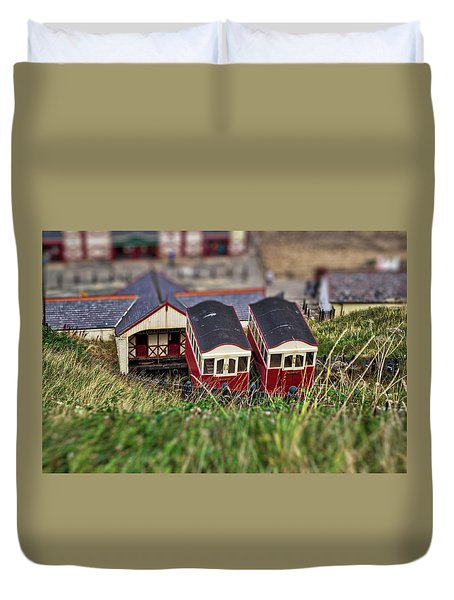Duvet Cover featuring the photograph Saltburn Tramway by Scott Lyons
