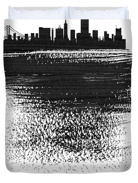San Francisco Skyline Brush Stroke Black Duvet Cover
