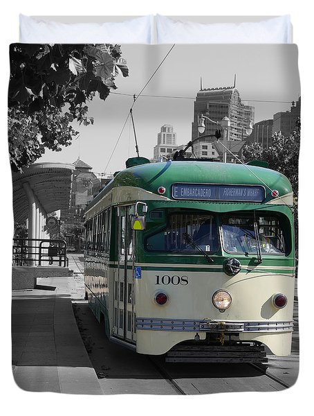 San Francisco - The E Line Car 1008 Duvet Cover
