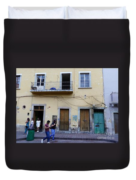 Duvet Cover featuring the photograph Guanajuato Street Scene by Rosanne Licciardi