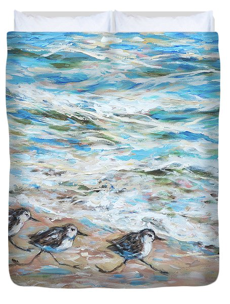 Sanderlings Running Duvet Cover