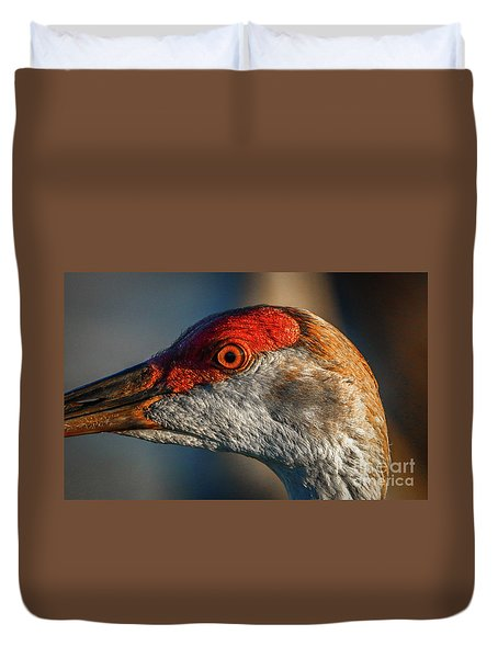 Duvet Cover featuring the photograph Sandhill Close Up Portrait by Tom Claud