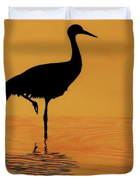 Sandhill - Crane - Sunset Duvet Cover